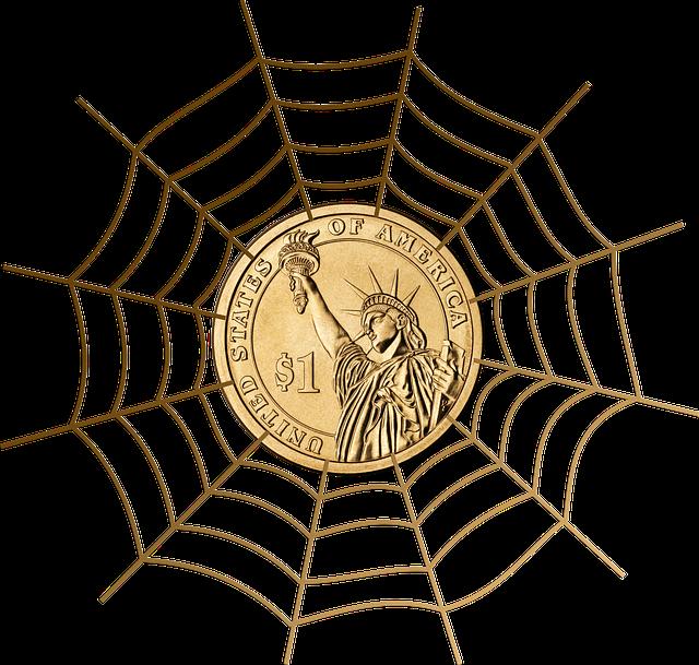 dolar v síti, pavučina, zlatá mince